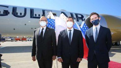 صورة أول زيارة رسمية.. وزير الخارجية البحريني يصل الأراضي الفلسطينية المحتلة !!!