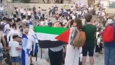 صورة تونسية ترفع العلم الفلسطيني في وجه المستوطنين