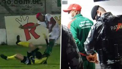 صورة اتهام لاعب برازيلي بمحاولة قتل الحكم خلال مباراة